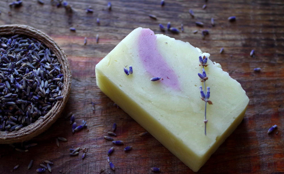 Lavender soap with dried lavender flowers