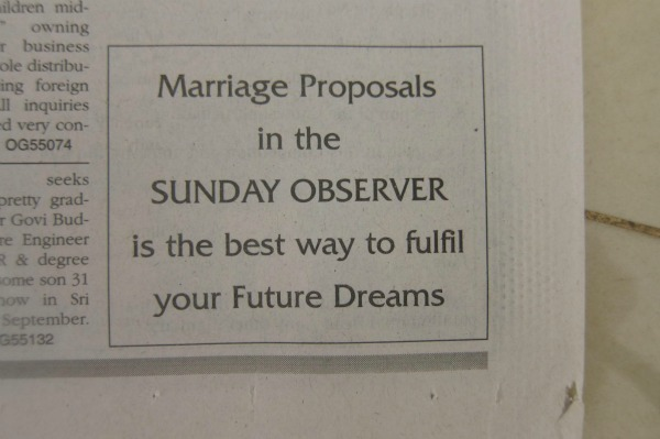Sunday observer marriage proposals